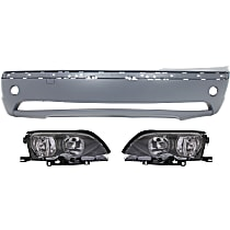 Headlights - Driver and Passenger Side, Kit, For Sedan or Wagon, Black Trim, With Bulb(s), With Bumper Cover
