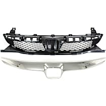 Grille Assembly - Paintable Shell and Insert, Sedan, with Textured Chrome Upper Grille Trim