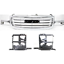 Grille Assembly - Chrome Shell and Insert, Except Denali Model, with Right and Left Headlight Brackets and Right and Left Headlight Brackets