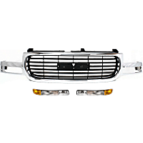 Grille Assembly - Chrome Shell with Painted Black Insert, with Right and Left Parking Lights and Right and Left Parking Lights