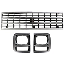 Grille Assembly - Silver Shell with Black Insert, with Single Headlights, with Single Type Right and Left Headlight Doors
