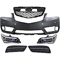 Grille Assembly - Paintable Shell and Insert, with Front Bumper Cover, Right and Left Fog Light Covers and Right and Left Headlights