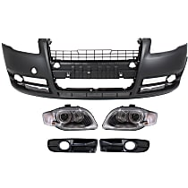 Fog Light Trim - Driver and Passenger Side, Primed, with Front Bumper Cover and Right and Left Headlights