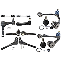 Control Arm - Front, Driver and Passenger Side, Upper, 4WD, with Idler Arm, Pitman Arm, Sway Bar Links, Lower Ball Joints, and Inner and Outer Tie Rod Ends