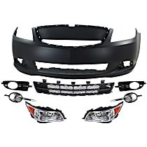 Replacement Grille Assembly, Bumper Cover, Bumper Grille, Fog Light Trim and Headlight Kit