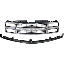 Grille Assembly - Chrome Shell with Painted Black Insert, with Front Center Bumper Filler