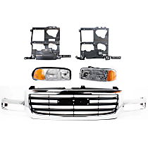 Headlights - Driver and Passenger Side, Kit, All Cab Types, 1999-2007 Body Style, For Hybrid, SL, SLE, SLT And WT, With Bulb(s), With Grille and Headlight Brackets