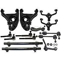 Control Arm - Front, Driver and Passenger Side, Upper and Lower, For Models with Standard Duty Suspension, with Idler Arm, Pitman Arm, Sway Bar Links, Tie Rod Adjusting Sleeves, and Inner and Outer Tie Rod Ends