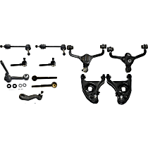 Control Arm - Front, Driver and Passenger Side, Upper and Lower, For Models with Standard Duty Suspension, with Idler Arm, Pitman Arm, Sway Bar Links, and Inner and Outer Tie Rod Ends