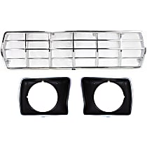Grille Assembly - Chrome Shell and Insert, with Painted Right and Left Headlight Doors, with Round Headlights