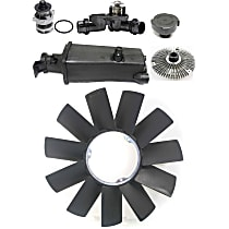 Cooling System Service Kit, Fan Clutch, Fan Blade, Coolant Reservoir, Coolant Reservoir Cap, Water Pump and Thermostat Kit