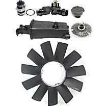Replacement Fan Clutch, Fan Blade, Coolant Reservoir, Coolant Reservoir Cap, Water Pump and Thermostat Kit