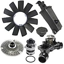 Coolant Reservoir, Fan Clutch, Fan Blade, Coolant Reservoir Cap, Water Pump and Thermostat Kit