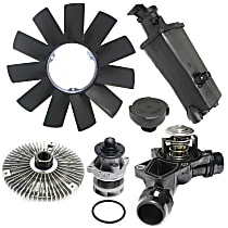 Replacement Coolant Reservoir Cap, Fan Clutch, Fan Blade, Coolant Reservoir, Water Pump and Thermostat Kit