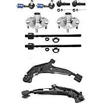 Control Arm, Tie Rod End, Sway Bar Link and Wheel Hub Front Driver and Passenger Side