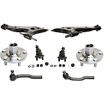Ball Joint, Tie Rod End, Wheel Hub and Control Arm Kit, Front Driver and Passenger Side