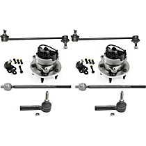 Ball Joint, Tie Rod End, Wheel Hub and Sway Bar Link Kit Front Driver and Passenger Side