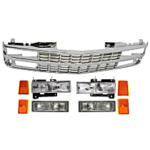 Grille Assembly - Chrome Shell and Insert, with Right and Left Headlights, Front Right and Left Upper Reflectors, Front Right and Left Lower Side Markers and Right and Left Turn Signal Lights