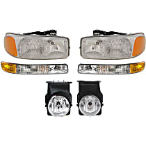 Headlights - Driver and Passenger Side, Kit, All Cab Types, 1999-2007 Body Style, For Hybrid, SL, SLE, SLT And WT, With Bulb(s), With Fog Lights and Parking Lights