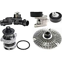 Fan Clutch, Water Pump, Accessory Belt Tensioner, Accessory Belt Tension Pulley and Thermostat Kit