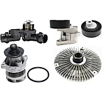 Replacement Fan Clutch, Water Pump, Accessory Belt Tensioner, Accessory Belt Tension Pulley and Thermostat Kit