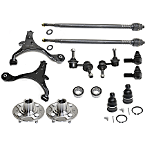 Replacement Wheel Bearing, Control Arm, Tie Rod End, Sway Bar Link, Ball Joint and Wheel Hub Kit