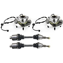Front Driver and Passenger Side CV Axle Assembly For 4WD Models with Right and Left Wheel Hubs