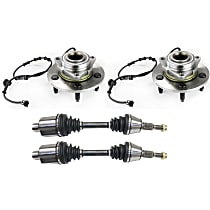 Axle Assembly - Front, Driver and Passenger Side, 4WD, with Right and Left Wheel Hubs