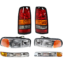 Headlights - Driver and Passenger Side, Kit, All Cab Types, 1999-2007 Body Style, For Denali, Hybrid, SL, SLE, SLT, WT, With Bulb(s), With Tail Lights and Parking Lights