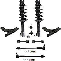 Replacement Shock Absorber and Strut Assembly, Control Arm, Tie Rod Assembly, Ball Joint and Sway Bar Link Kit