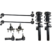 Replacement Shock Absorber and Strut Assembly, Tie Rod End, Ball Joint and Sway Bar Link Kit