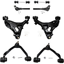 Control Arm - Front, Driver and Passenger Side, Upper and Lower, 4WD, with Sway Bar Links and Outer Tie Rod Ends