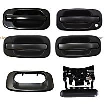Tailgate Handle - Textured Black, Crew Cab Pickup, with Tailgate Handle Bezel and (4) Exterior Door Handles