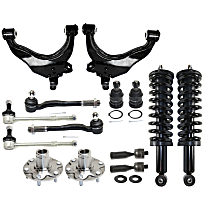 Replacement Control Arm, Shock Absorber and Strut Assembly, Tie Rod End, Ball Joint, Wheel Hub and Sway Bar Link Kit