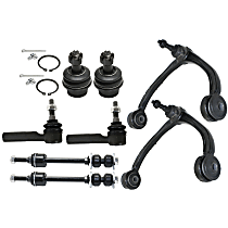 Control Arm, Sway Bar Link, Tie Rod End and Ball Joint Kit Front Driver and Passenger Side