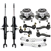 Replacement Control Arm, Shock Absorber and Strut Assembly, Tie Rod End, Wheel Hub and Sway Bar Link Kit