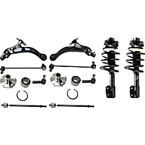 Replacement Shock Absorber and Strut Assembly, Tie Rod End, Wheel Hub, Sway Bar Link and Control Arm Kit
