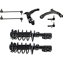 Replacement Shock Absorber and Strut Assembly, Tie Rod End, Control Arm and Sway Bar Link Kit