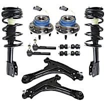 Replacement Control Arm, Shock Absorber and Strut Assembly, Tie Rod End, Sway Bar Link and Wheel Hub Kit