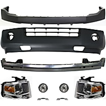 Replacement Bumper Cover, Headlight, Fog Light, Bumper Reinforcement and Bumper Bracket Kit