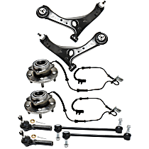 Replacement Control Arm, Tie Rod End, Wheel Hub and Sway Bar Link Kit