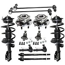 Replacement Shock Absorber and Strut Assembly, Tie Rod End, Ball Joint, Wheel Hub and Sway Bar Link Kit