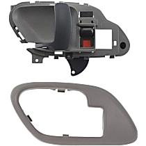 Interior Door Handle - Front, Driver Side, Gray, with Door Handle Trim