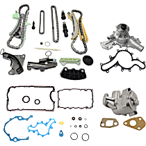 Water Pump - 4.0 Liter Engine, with Lower Engine Gasket Set, Oil Pump, and Timing Chain Kit (without Sprocket)