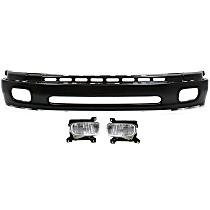 Bumper - Front, Powdercoated Black, Base/SR5 Model, Steel Type, with Fog Lights