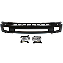 Bumper - Front, Powdercoated Black, Base/SR5 Model, Steel Type, with Fog Lights