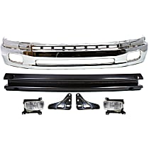 Bumper - Front, Chrome, Steel Type, with Bumper Brackets, Bumper Reinforcement and Fog Lights