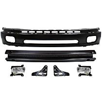 Bumper - Front, Powdercoated Black, Base/SR5 Model, Steel Type, with Bumper Brackets, Bumper Reinforcement and Fog Lights