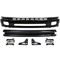 Bumper - Front, Powdercoated Black, Base/SR5 Model, Steel Type, with Bumper Brackets, Bumper Reinforcement and Fog Lights