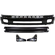 Bumper - Front, Powdercoated Black, Base/SR5 Model, Steel Type, with Bumper Brackets and Bumper Reinforcement